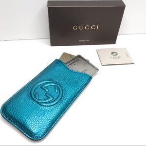 New AUTHENTIC Gucci GG Metallic Blue Leather Case